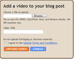 Video upload dialog