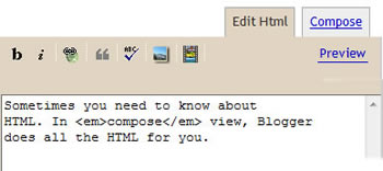 blogger's HTML View