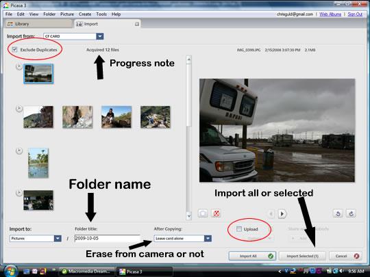 Picasa 3.5 Import